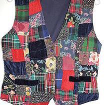 Cotton Express Navy Patchwork Cotton Vest Size M Euc Photo