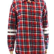 Cotton Express New Red Blue Plaid Size Small S Juniors Button Down Shirt Cotton Photo