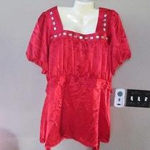 Cotton Express Size 3x Red Satiny Top With Neck Bling Photo