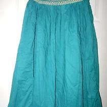 Cotton Express Teal 100% Cotton Beads Sequins Embroidered Boho Skirt M Photo