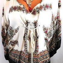 Cotton Express White Black Floral Tie Up Waist Poncho Kimomo Top Regular Size S Photo