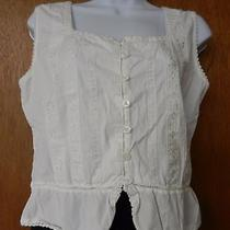 Cotton Express Womens L 100% Cotton Sleeveless White Chemise Crop Top W/lace Photo