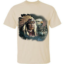 Cotton Printed T-Shirt Tee - Indian Chief Wolf and Eagle - Natural - M Photo