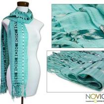 Cotton 'Tradition in Aqua' Scarf (Guatemala) Photo