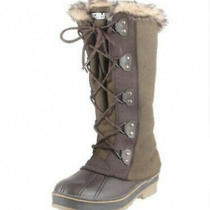 Cougar Storm Womens 10 Andora Boots Tall Winter Snow Lace Up Faux Fur Green Duck Photo