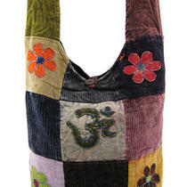 Courduroy Patchwork Hobo Bag With Om and Flower Appliques Photo