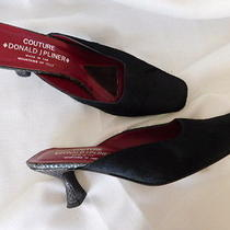 Couture Donald J Pliner Black Pony Hair Calf Leather Mules Shoes Heels 7  7.5 Photo