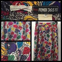 Couture Fendi Silk Skirt Bergdorf Goodman Italian Wearable Art Sz 40 Knee Length Photo