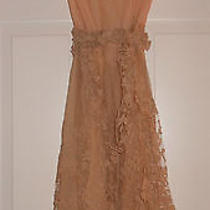 Couturier 1970s Vintage Dress Peach Blush Silklace Sleeveless Can Be Tailored 4 Photo