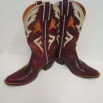 Cowboy Western Frye Lily Lizard Burgundy Leather White Orange Inlays Boots  7.5 Photo