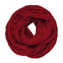 Cozy by Lulu - Fisherman's Cable Knit Infinity in Red Photo