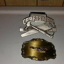 Craftsman Tools Vintage Belt Buckle 1993 and American Eagle Belt Buckle Used Photo