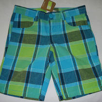 Crazy 8 Turquoise Aqua & Green Plaid Bermuda Shorts Nwt Sz 5 Girls' Photo