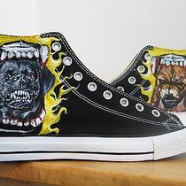 Crazy Dog Hand Painted Vintage Converse Sneakers Shoes Custom Designed 62 Photo