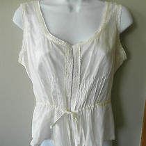 Cream Bebe Sheer Top Shirt Medium Lace Corset Silk  Photo
