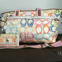Cream Coach Diaper Bag and Matching Wallet Photo