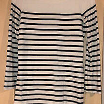 Cream & Navy Blue Stripe Gap Jersey Dress Xs Photo