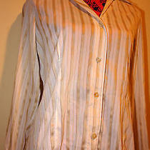 Cream Striped Shirt Women's Size  Photo
