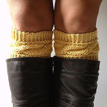 Creme Brulee Boot Cuffs Cable Knit Yellow Boot Liners Toppers Photo