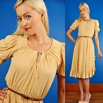 Creme Brulee Vtg 70s Boho Ruffle Peasant Dress S/m Photo