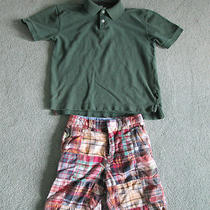Crew Cuts Plaid Shorts / Gap Green Polo Shirt Size Medium (7) - Euc - Cute Photo