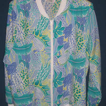 Cricket Lane Aqua Blue Periwinkle Tropical Fish Poly Jacket Zipper Usa Size 20 Photo