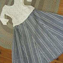 Crisp & Cool  Anne Campbell Blue/white Stripe Cotton Panel Skirt Fit 18-20 Nwt. Photo
