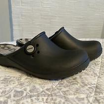 Croc Black Animal Print Slip on Mules Clogs Women's Size 8 Photo