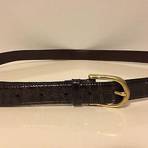 Croc Embossed Quality Leather Business Belt Mens Size 38 Brown Brass Buckle Euc Photo