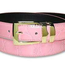 Croc Pink Bonded Leather Belt Gold-Tone Buckle Size 40 Photo