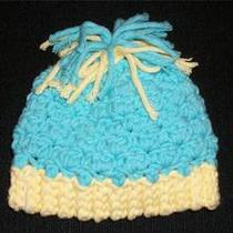 Crochet Baby Boy Hat  Handmade in Usa  Aqua & Yellow Photo