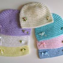 Crochet Baby Hat Embellished or Basic Beanie Cloche Cap Kufi Photo Prop  Photo