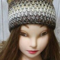 Crochet Hat Kitty Pussy Cat Ears  Woman' Handmade New Brulee Brown Beanie Photo