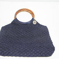 Crochet Knit Navy Blue Sak Original Purse Wood Handles Euc Photo