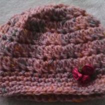 Crocheted Blushed Rose Nwborn Hat and Matching Booties Photo