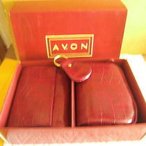 Croco Avon Wallet Gift Set Bag Key Chain Pvc New in Original Box Gift Photo
