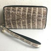 Crocodile  Skin Tail Natural Gray Wristlet Wallet Clutch  New Photo