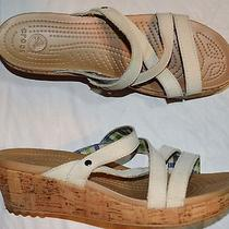 Crocs a Leigh Mini Wedge Sz 8 M Stucco Leather Cork Platform Sandals Photo