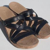 Crocs a-Leigh Mini Wedge Women's Black Slide Sandals Sz 10 (Free Shipping) Photo