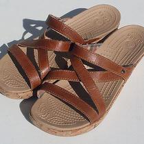 Crocs a-Leigh Mini Wedge Women's Cocoa Brown Slide Sandals Sz 10 (Free Shipping) Photo