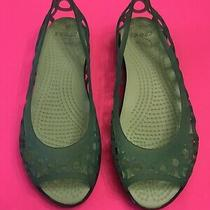 Crocs Adrina Ii Flats  Women's Size 4 Green Lime Slipon Jelly Shoes Peep Toe (E) Photo