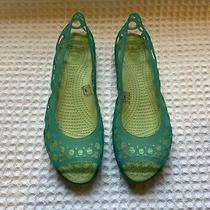 Crocs Adrina Open Toe Jelly Ballet Flats Sandals 45 Aqua Blue / Celery Green 8 Photo