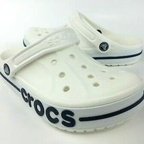 Crocs Bayaband Women's Clog Sandals (205089-126) White / Navy Blue Size 6 Nwt Photo