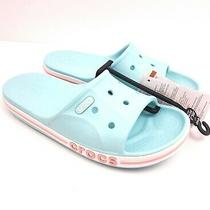 Crocs Bayaband Womens Size 8 Ice Blue Melon Slip on Sandals Slides 205392-4jf Photo