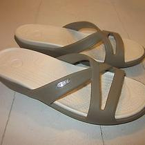 Crocs Beige Sandal Wedge Size 8 M Nwd Tiny Flaw on Soles Excellent Photo