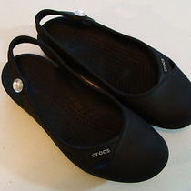 Crocs Black Slingback Sandal Flats - Size 4 - Made in Mexico Photo