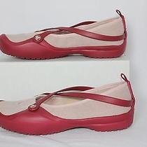 Crocs Celeste Red Pink Straps Ballet Flats Mary Jane Slip on Shoes Women Size 8 Photo