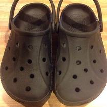 Crocs Childrens Black Clogs With Strap Sz. 1 Photo