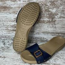 Crocs Classic Brown Navy Blue Slip on Slide Sandals Womens Size 11 Photo