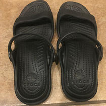 Crocs Cleo Womens Size 7 Rubber Sport Sandals Slides Flip Flops Black Nice  Photo